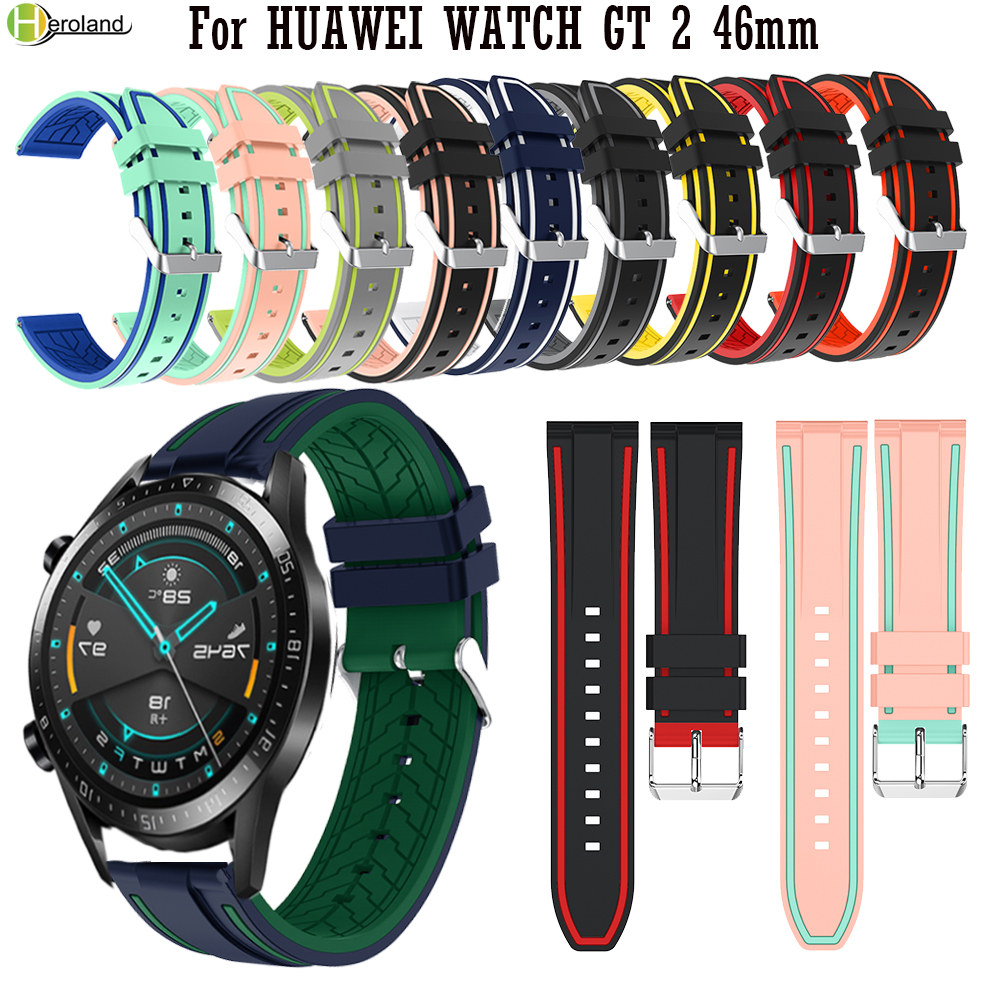 22MM Sport Silicone Watch Strap For HUAWEI WATCH GT 2 46mm / For Huami Amazfit Stratos 2 2S Smart Watch Band Bracelet WirstStrap