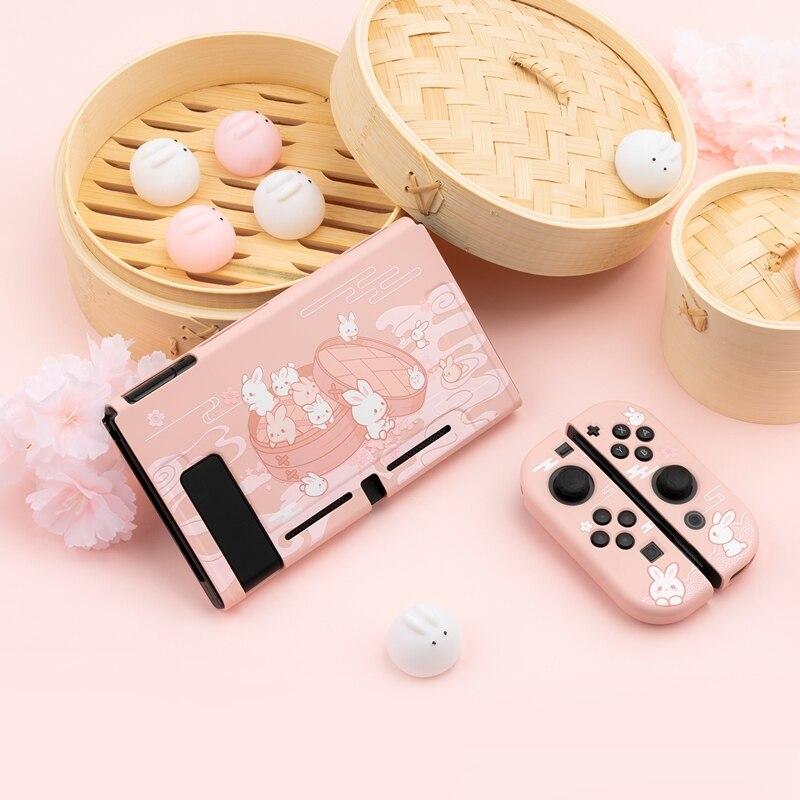 Geekshare Nintendo Switch Steamed Bread Rabbit Cartoon Cute Dessert Fairy League Soft Cover Back Girp Shell For Nintendo Switch