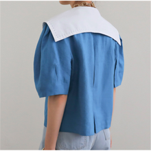 Ins Korean Style Simple Chic Fashionable Solid Single Breasted Solid Blue Elegant Vintage Turn Down