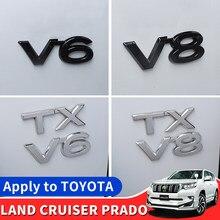 For Toyota LAND CRUISER 200 Prado 120 150 Car Logo Displacement V8/TX/TXL/5.7/V6/Black Letter Sticker Car Decoration Accessories