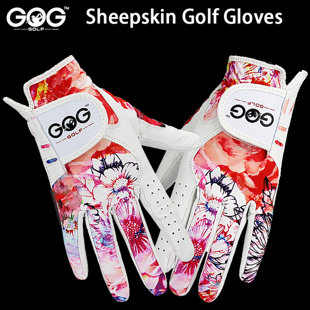 GOLF GLOVES 1 pair GOG SHEEPSKIN Genuine leather + lycra brand new left / right hand for women lady sports glove