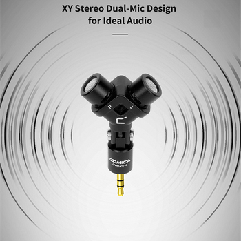 Comica XY Stereo Audio Video Record Microphone for Gopro Action Camera DSLR Smartphone Gimbal Gold Plated Vlog Mic