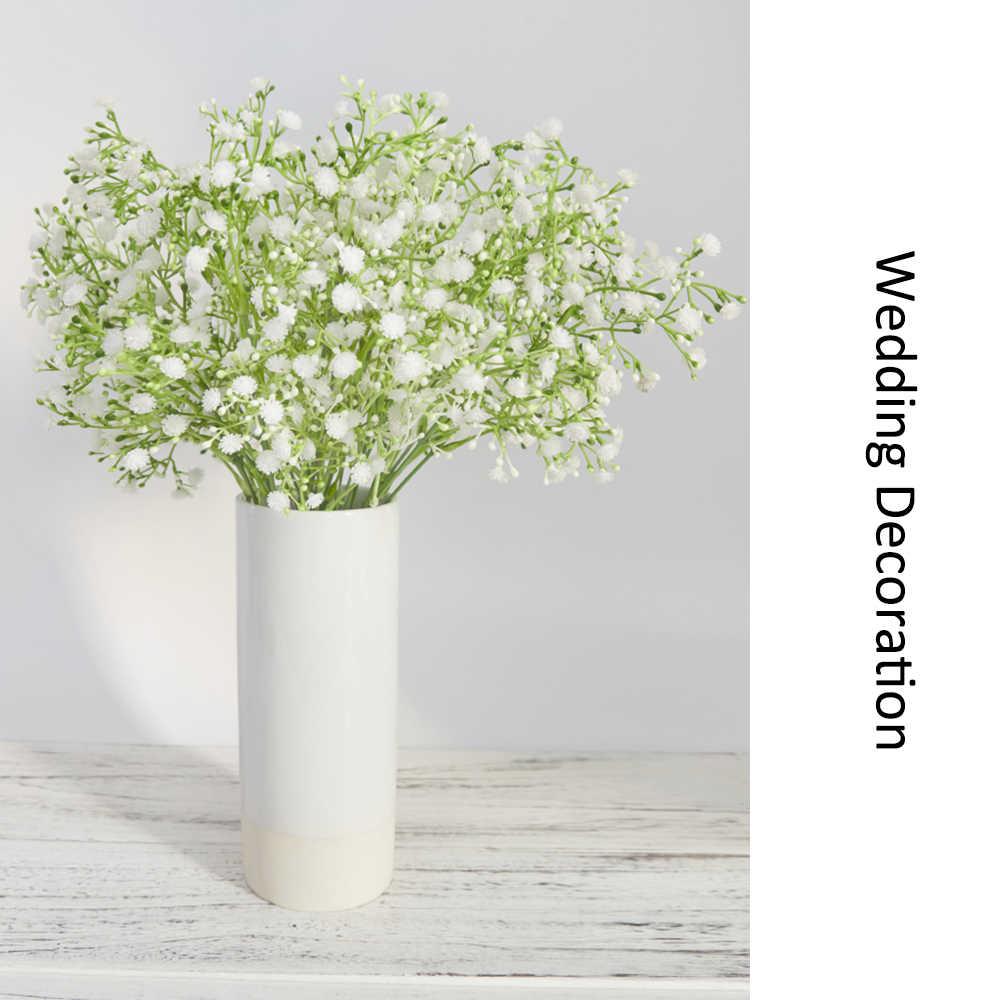 5 zweig Kunststoff Künstliche Blumen Bouquet Weiß Gypsophila DIY Hochzeit Hause Balkon Im Freien Dekoration babysbreath Gefälschte Blume
