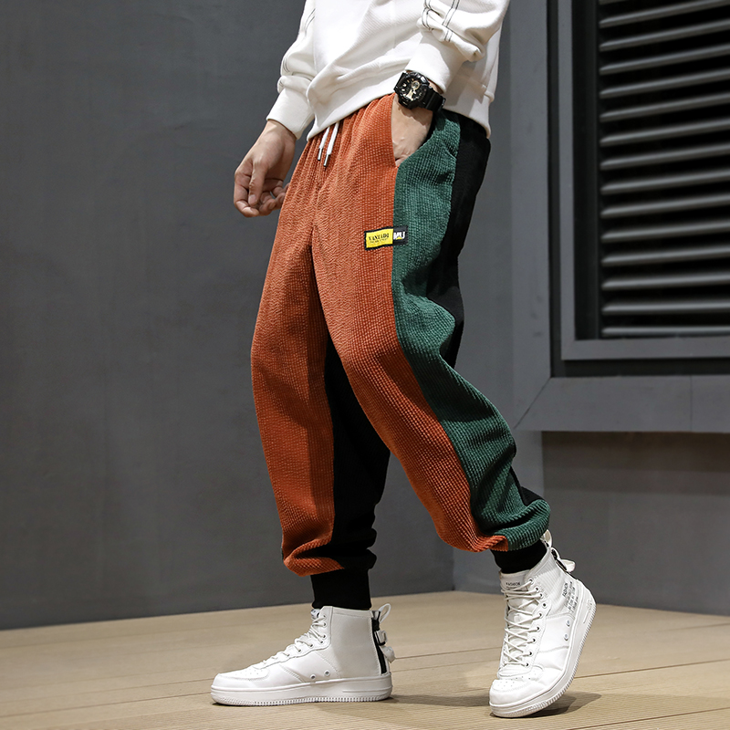 Autumn Winter Fashion Men Jeans Loose Fit Spliced Designer Casual Harem Pants Elastic Waist Hip Hop Corduroy Joggers Pants Men