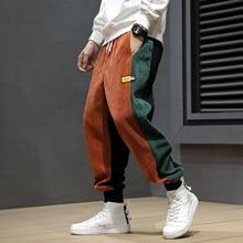 Autumn Winter Fashion Men Jeans Loose Fit Spliced Designer Casual Harem Pants Elastic Waist Hip Hop Corduroy Joggers