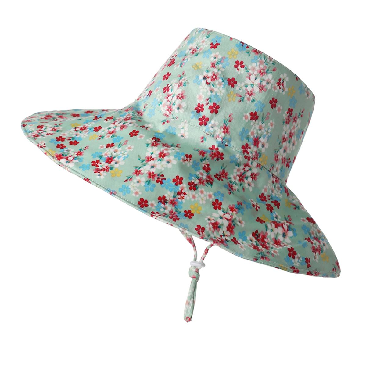 Шляпа от солнца AA для девочек, аксессуары, Летняя женская панама с цветочным рисунком и кулиской, шляпа от солнца
