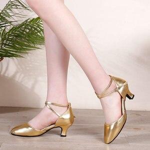 Image 5 - Salsa chaussures de danse latine femmes rouge bout fermé dames chaussures de danse de salon femme talons moyens 3.5cm/5.5cm Tango chaussures de danse