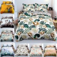 Bedding-Set Quilt-Cover 3pcs Flower-Pattern 2-Pillowcases Custom Full-Size