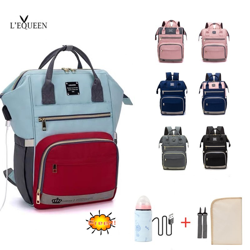 LEQUEEN Diaper Bag&Changing Pad&straps&Insulation Bags Maternity Bag Baby Care Antifouling Backpack Stroller Bag Nappy Bag