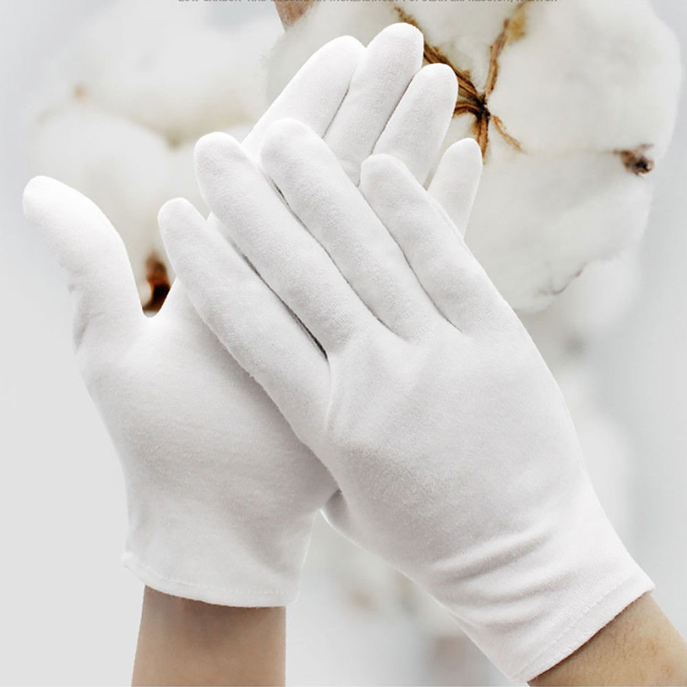 6 Pairs Unisex White Cotton Ceremony Glove Lightweight Medium Thick Cleaning Coin Jewelry Inspection Work Gloves S-XL