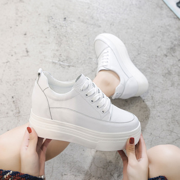 2020 Season Single Shoes Female Inside Increase Thick Bottom Lace Round Head Small White Shoes Female Leisure Slope With Shallow