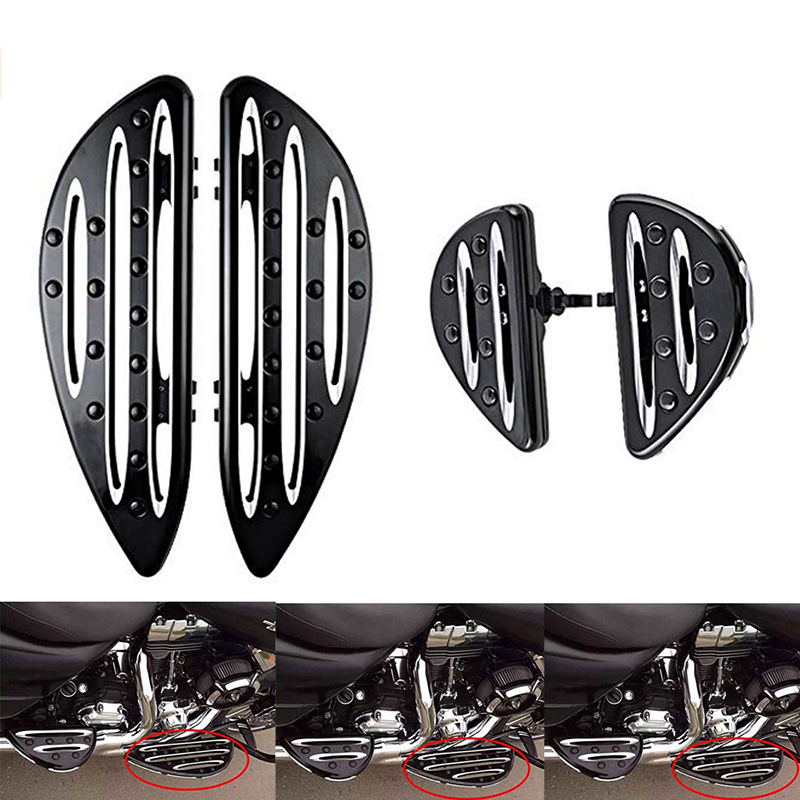 Front Driver Floorboards Pair For Harley Touring Softail Dyna Street Road Glide