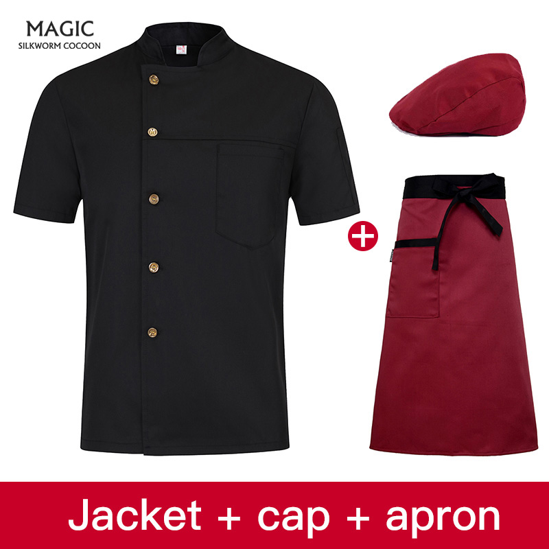 Food Service Uniform Chef Uniform Solid Color Restaurant Kitchen Man Woman Short Sleeve Chef Jacket Bakery Cooking Work Wear