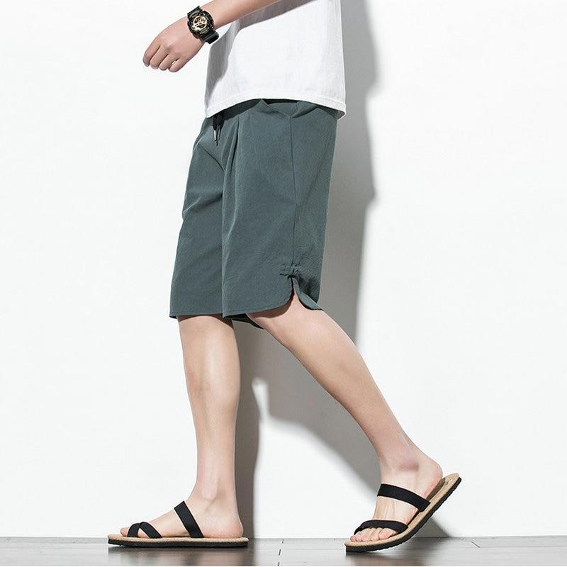 Streetwear Summer Shorts Men Casual Cotton Mens Beach Shorts 2020 Chinese Style Knee-length Bermuda Short Pants Men
