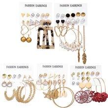 6 pair/set women's earrings set tassel pearl for women bohemian