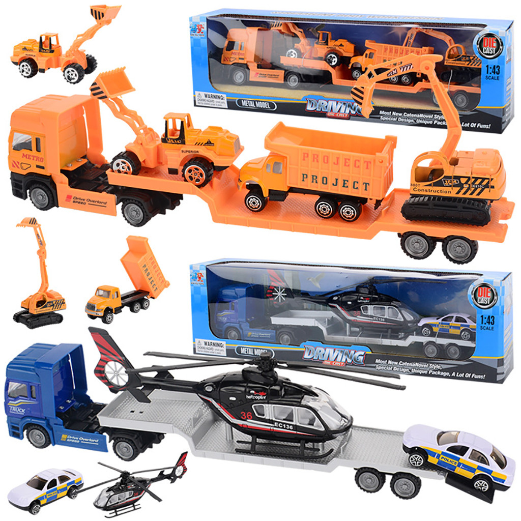 BEHATRD 1:43 Kids <font><b>Diecast</b></font> <font><b>Model</b></font> <font><b>Car</b></font> Toys Alloy Engineering <font><b>Cars</b></font> Transporter Helicopter Carrier Truck Toy Children Birthday Gift image