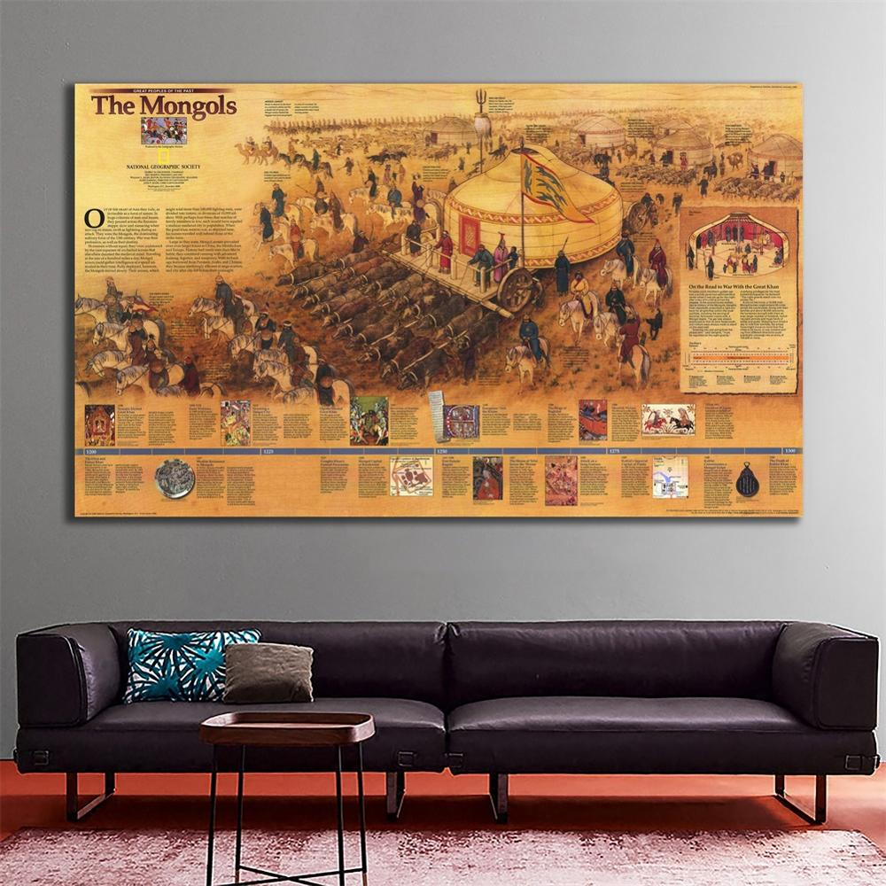 100x150cm The Mongols Decor Map Non-woven Based Vinyl Painting For Living Room Wall Decor Crafts