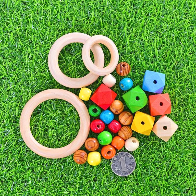 Natural Wood Teething Beads Wooden Ring Stic Dreamcatcherk Children Kids Diy Wooden Jewelry Making Crafts  Macrame Accessories