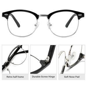 Image 2 - Cyxus Stylish Glasses Half rim Frame Eyeglasses Clear Lens for Men/Women Unisex Eyewear Black 8056