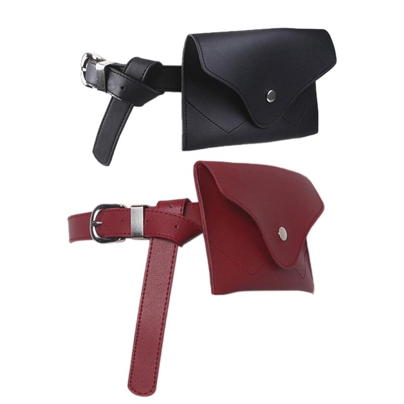 2 Pcs New Women Waist Bag Multifunction Women Bag Fashion Phone Waist Bags Small Belt Handbag (Black & Red)