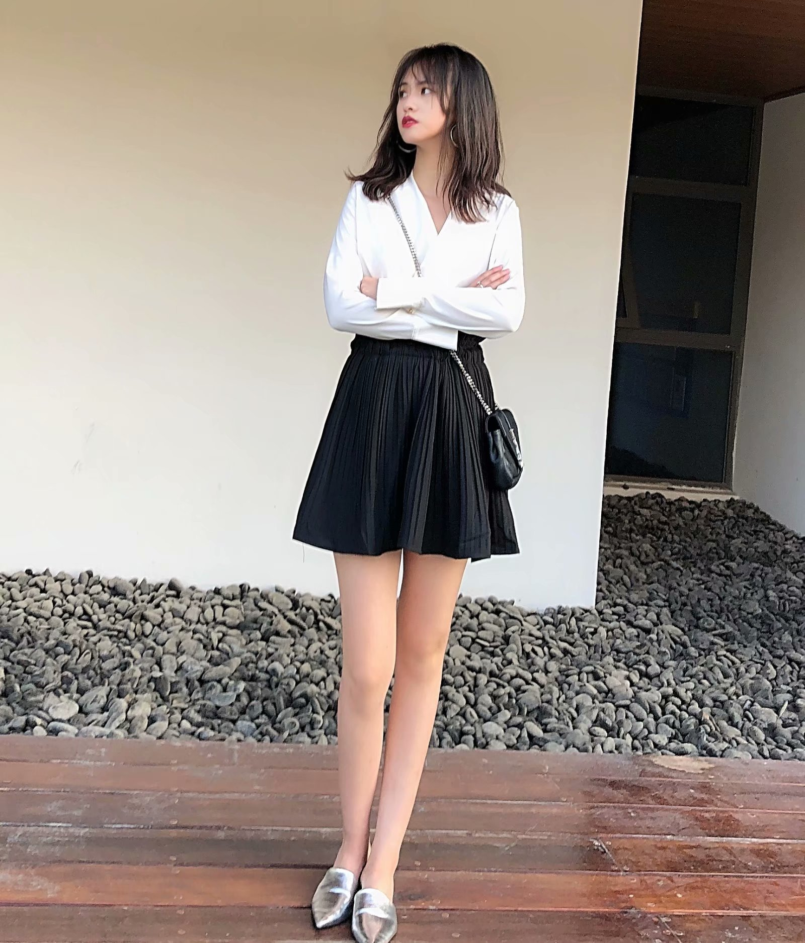 Europe And America 2019 Autumn New Style High-waisted Slimming Versatile Elastic Waist Wide Swing Pleated Skirt Short Skirt WOME
