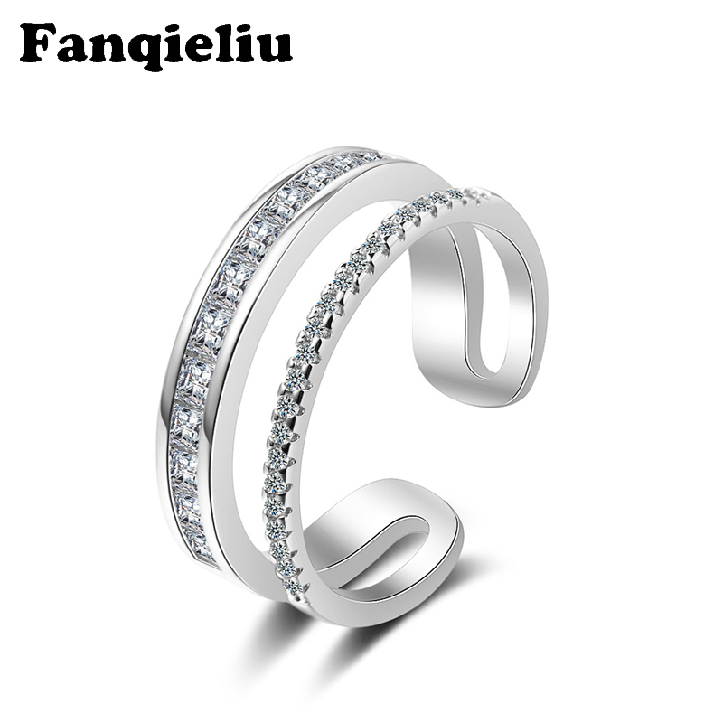 Fanqieliu C Shape Cuff Ring Double Layer Wedding Bands Crystal 925 Sterling Silver Ring For Women FQL20293