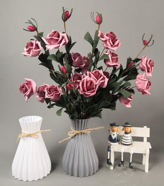 Vase decoration household plastic vase white rattan new waist vase crafts vase decoration home flower girl basket for wedding 5