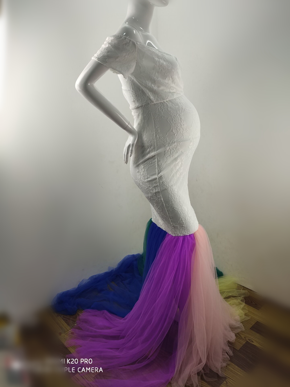 Lace Maternity Photography Props Dresses Rainbow Mesh Pregnancy Dress Long Pregnant Women Maxi Maternity Gown For Photo Shoots (6)