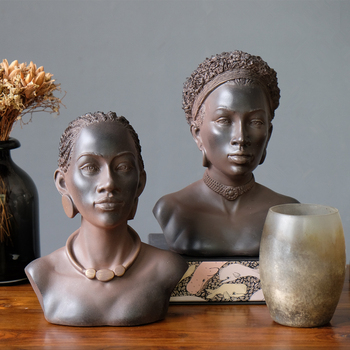 American Country African Beautiful Women Art Sculpture Girl Figure Head Portraits Statue Resin Crafts Decoration For Home R3166