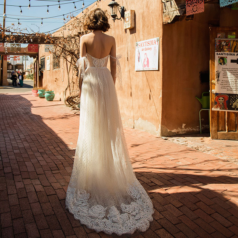 Verngo A Line Wedding Dress Boho Lace Appliques Wedding Gowns Elegant Off The Shoulder Bride Dress Robe De Mariee Gelinlik 2020