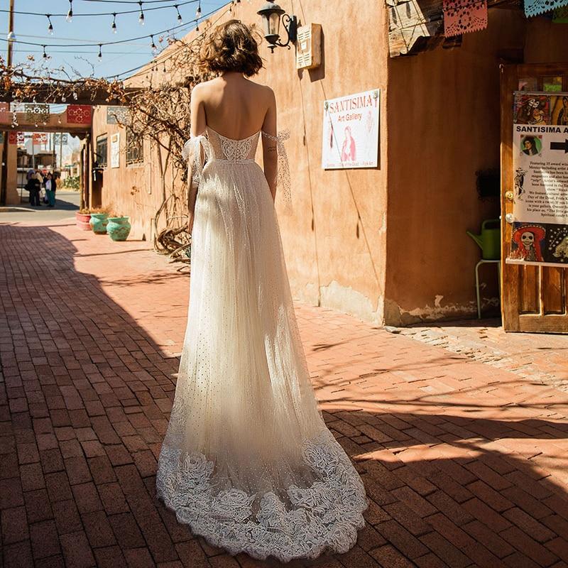 Verngo A Line Wedding Dress Boho Lace Appliques Wedding Gowns Elegant Off The Shoulder Bride Dress Robe De Mariee Gelinlik 2020