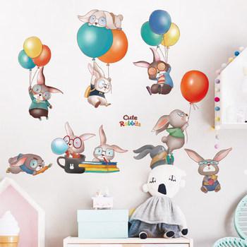 Duże naklejki ścienne dla dziewczynki dekoracja pokoju dziecięcego królik ściana z balonami naklejki naklejki do sypialni tapeta dziecięca dekoracyjna tanie i dobre opinie Adahl Płaska naklejka ścienna cartoon Na ścianę Naklejki na meble Jednoczęściowy pakiet WALL Zwierząt 60*100CM 125*86CM