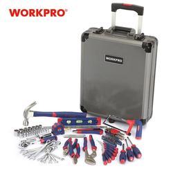 WORKPRO 111PC pokrowiec na wózek zestaw narzędzi zestaw pudełek aluminiowych zestawy narzędzi domowych w Zestawy narzędzi ręcznych od Narzędzia na