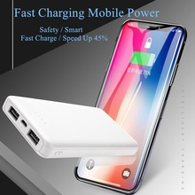 цена на portable  power bank 10000mah cell phone backup battery  Dual USB Interface Two-way Quick Charge  Li-polymer Battery