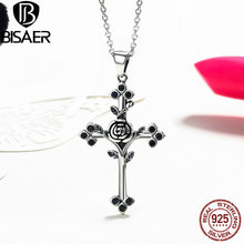 Genuine 925 Sterling Silver Rose Flower Leaf Cross Pendant Necklaces For Women Luxury Fine Jewelry Gift GXN091