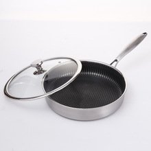 Stainless steel non-stick frying pan pan uncoated cooking pot household omelette pan wok pan  frying pan  Stainless Steel stainless steel frying pan set pot uncoated non stick pan household cooking pot with induction cooker pan kitchen pot