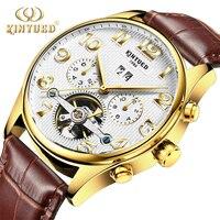 Kinyued Mechanische Uhren Männer Automatische Selbst wind Gold Hand Uhr Skelett Männliche Lederband Tourbillon Wasserdichte Wristwater