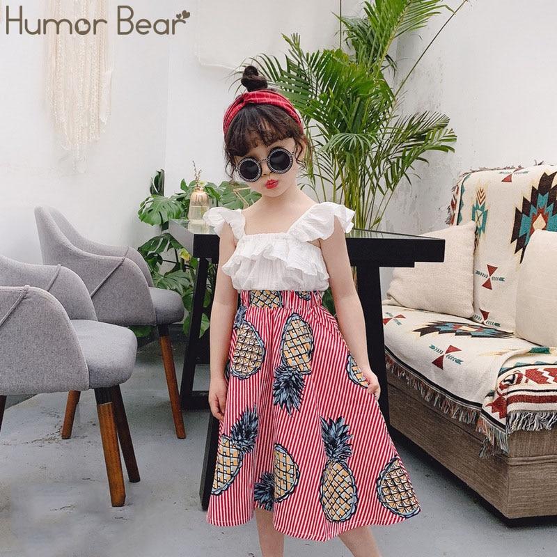 Hfdd2fc5cb27444088638386a54f58e92S Humor Bear Girls Clothing Set 2020 Korean Summer New Ice Cream Bow T-shirt+Pants Kids Suit Toddler Baby Children's Clothes