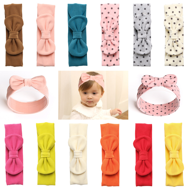 1pcs Winter Baby Bowknot Headband Cotton Infant Head Bandage Kids Girls Hairband Thickened Wool Fabric Headdress Hair Accessory