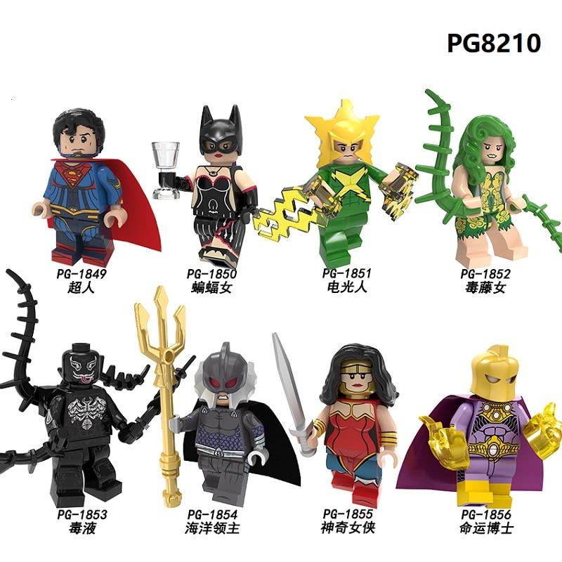 Building Blocks Super Heroes Superman Batman Electro Poison Ivy Venom Ocean Master Doctor Fate Figures For Children Toys PG8210