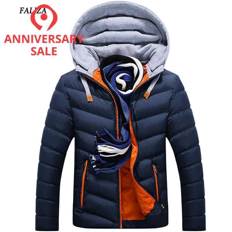 FALIZA Winter Men Coat Jacket Thermal Winter Jacket Hat Detachable Warm Coat Jackets Hooded Collar Slim Clothes Thick Parkas 4XL