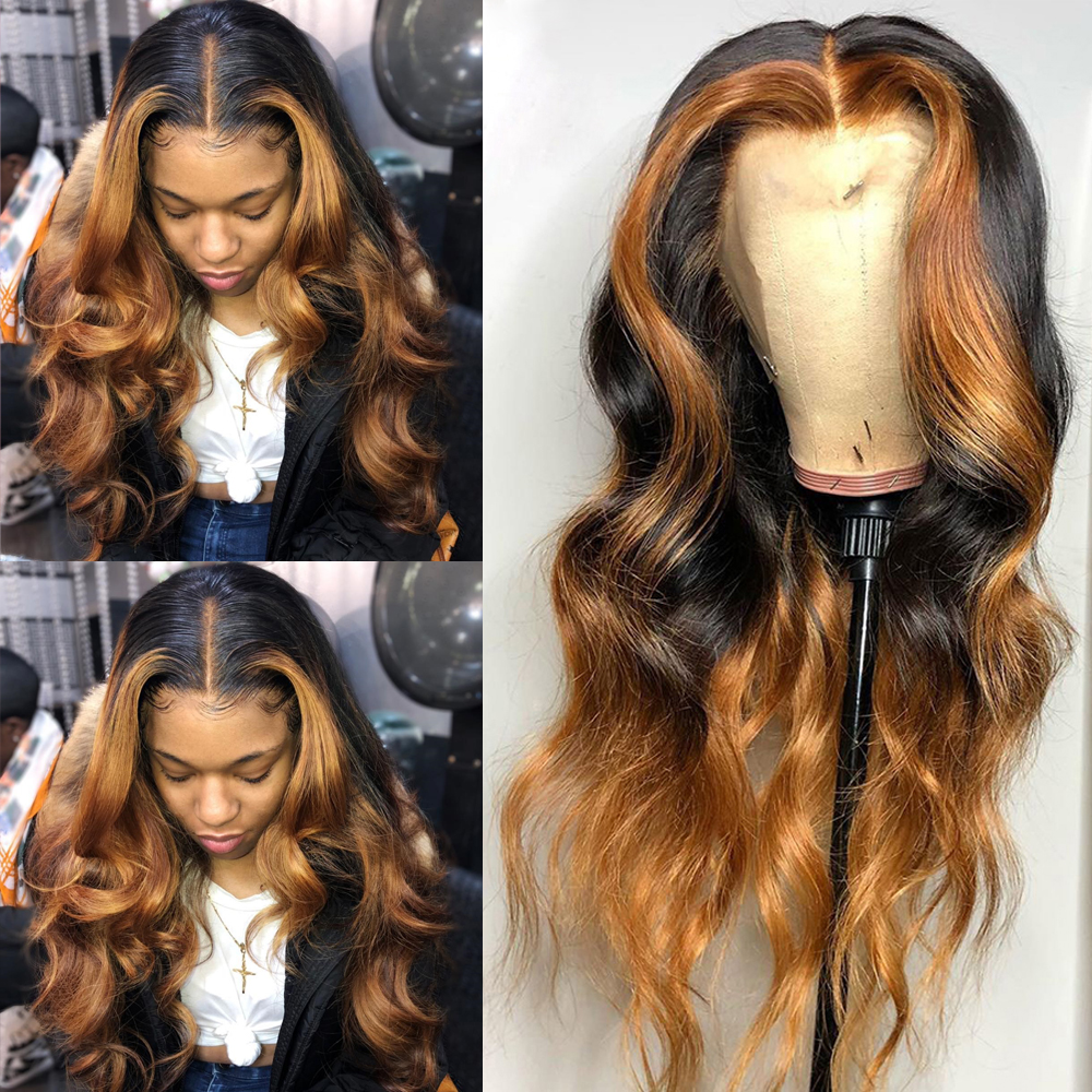 250 Density Honey Blonde Highlight Wig Colored Ginger Ombre 13x6 Deep Lace Front Human Hair Wigs Brazilian Body Wave Atina Remy