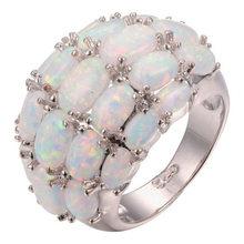 Chuhan luxuoso branco opala anel de noivado casamento da forma incrustada com quatro fileiras de ovais opala elegante anéis presentes de festa
