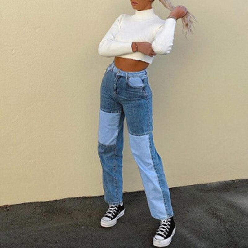Pantalones Vaqueros De Patchwork Rectos Para Mujer Pantalones Holgados Vintage De Cintura Alta Pantalones Vaqueros Para Mama Pantalones Vaqueros Desgastados Para Mujer 2020 Leather Bag