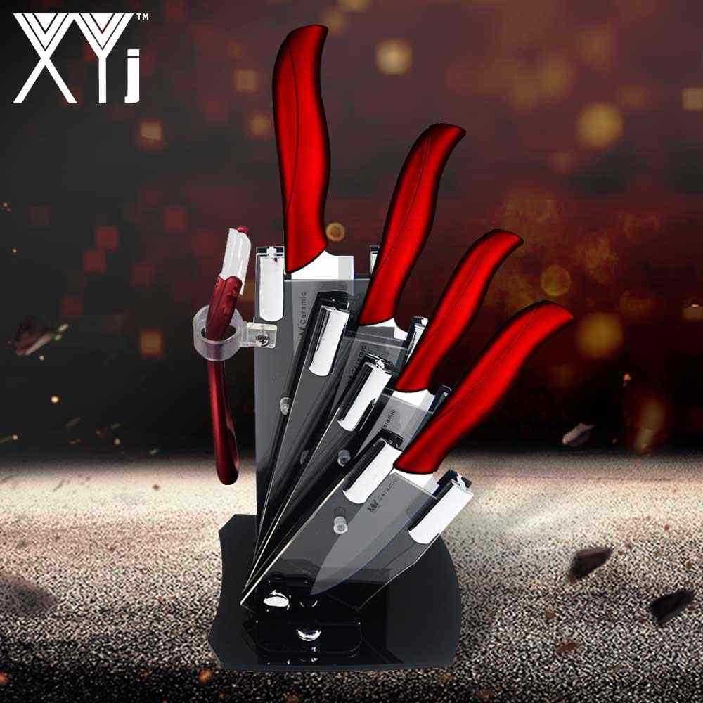 XYj سكين مطبخ سيراميك مكافحة الصدأ مواد السيراميك الصحة الآمن سكين الطاهي مع سكين أكريليك بلوك و مقشرة شفرة بيضاء