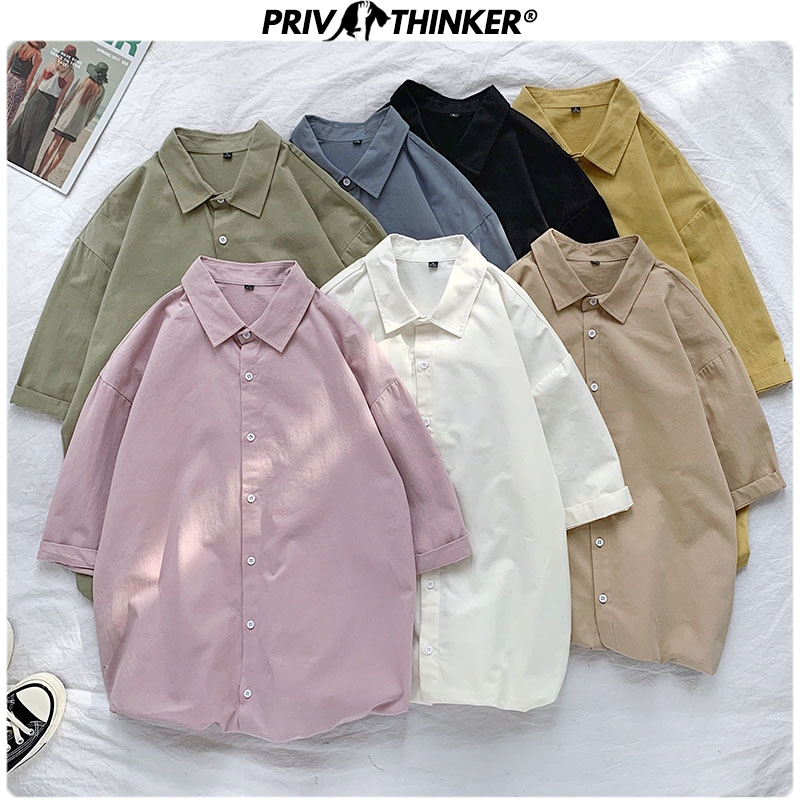 Privathinker Men Casual Summer Solid Shirts 2020 Men Colorful Short Sleeve Streetwear 100% Cotton Clothes Male Harajuku Shirts
