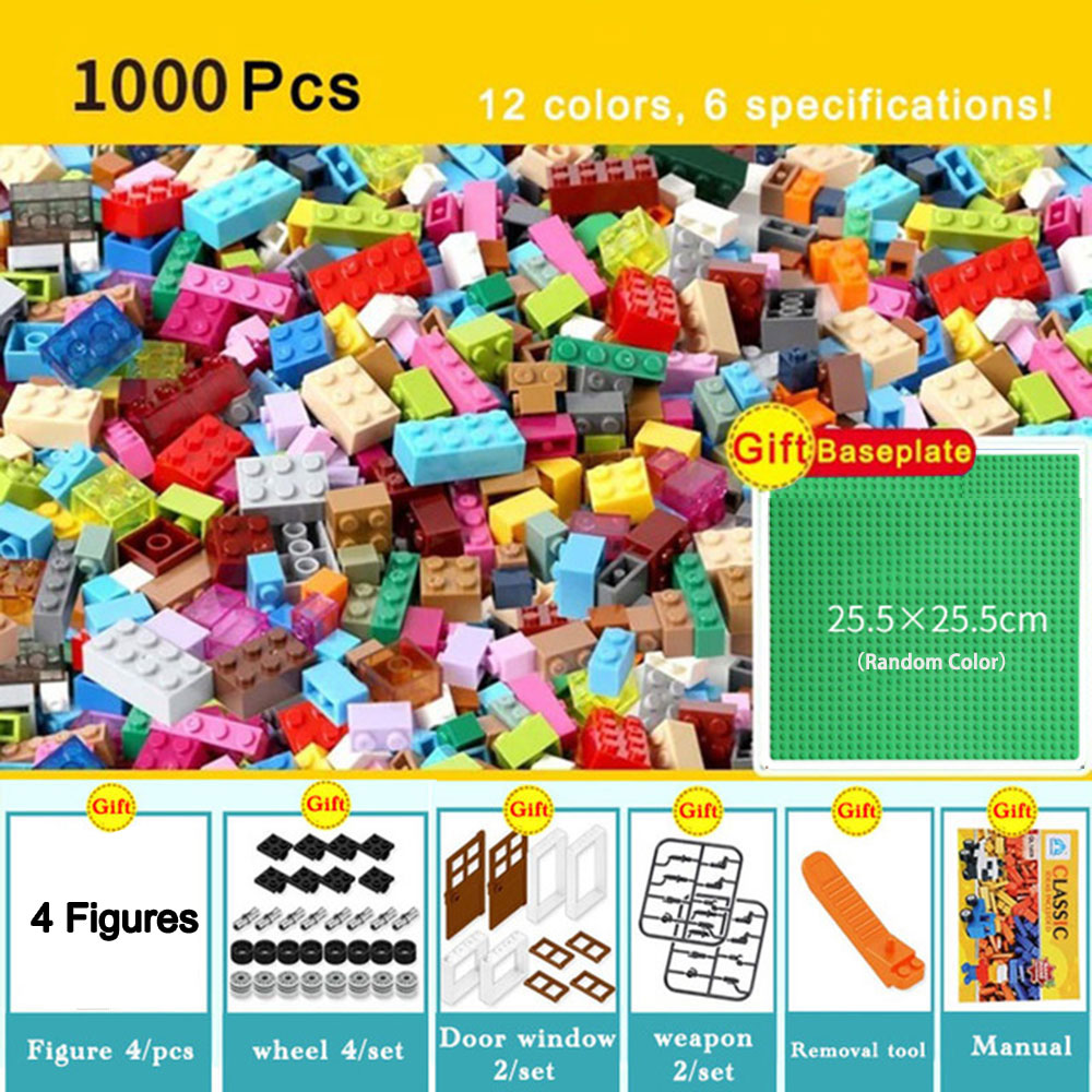 <font><b>1000pcs</b></font> Bricks Designer Creative Classic Brick DIY Building Block Educational Toys Bulk For Children Gift Compatible All Brands image