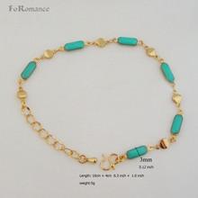 PART BANGLE Link Bracelet Wide-Chain GOLD ENAMELED FOROMANCE Green-Oil GP YELLOW 3MM