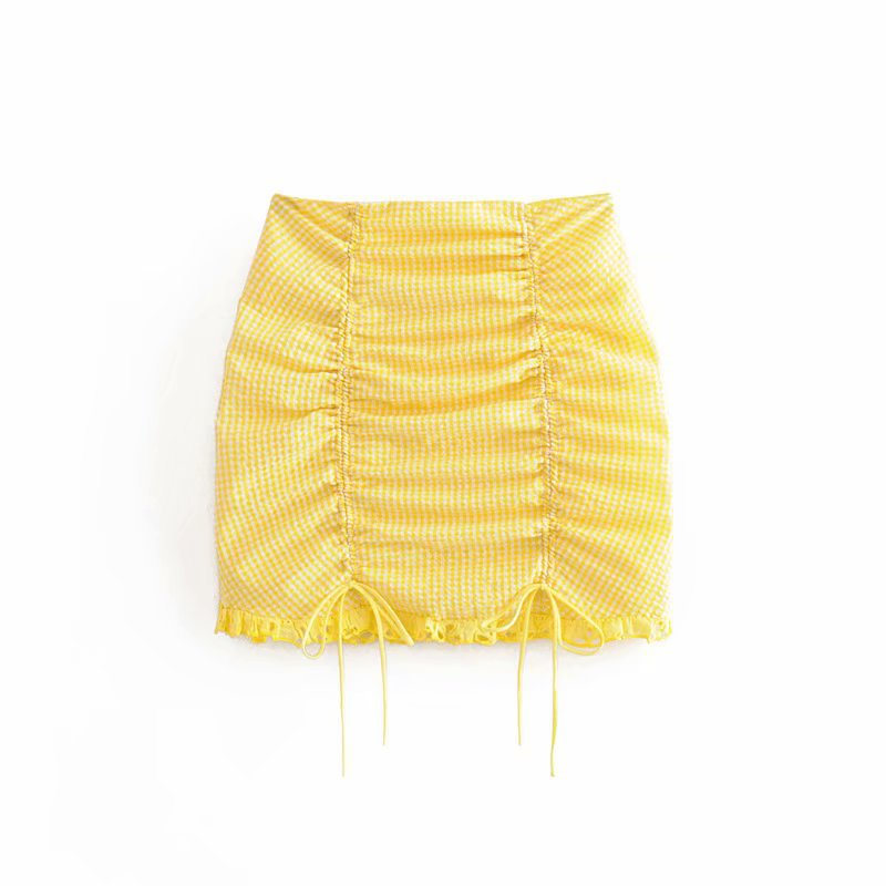 Hot Selling 2019 Autumn New Style Europe And America WOMEN'S Dress-Style Yellow Pattern Joint Pleated With Drawstring Skirt