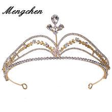 Barroco handmae luxcy cristal oco flor nupcial tiaras coroa strass pageant diadem noiva casamento acessórios de cabelo